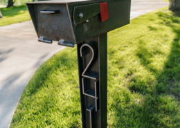 Steel mailbox and street numbers