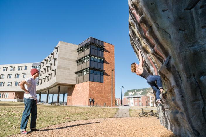 MSU climbing boulder