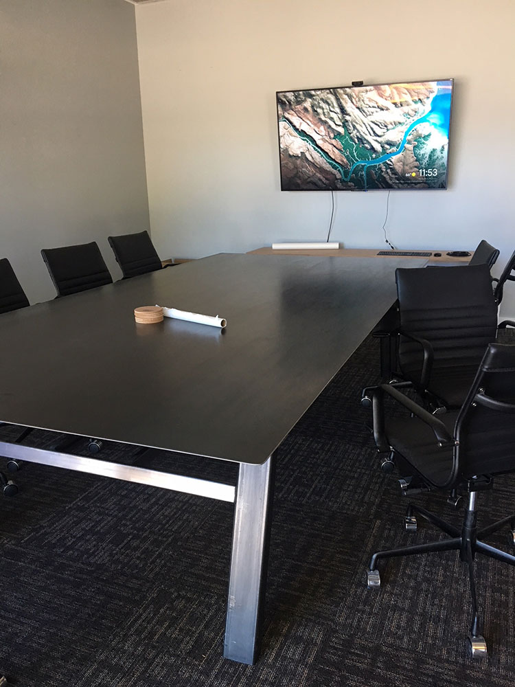 Modern office table with steel legs