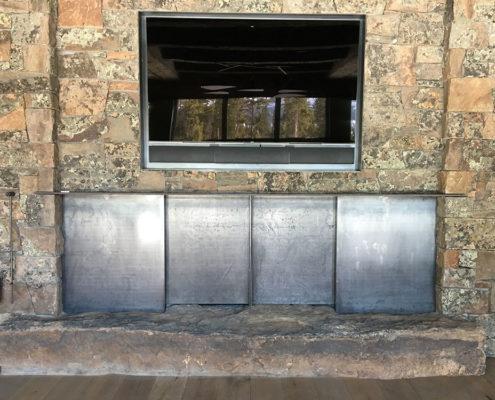 Sliding plate steel fireplace doors